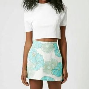 Topshop blue floral skirt